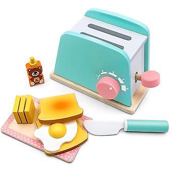 FengChun Brot und Butter Toaster Set (10 Stck) - Holzspielzeug und Kchenzubehr - Upgrade Pop-up Brot