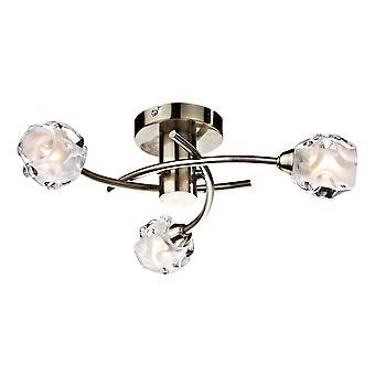 DAR SEATTLE Halb Flush Decke Licht Licht Antik Messing, 3x G9