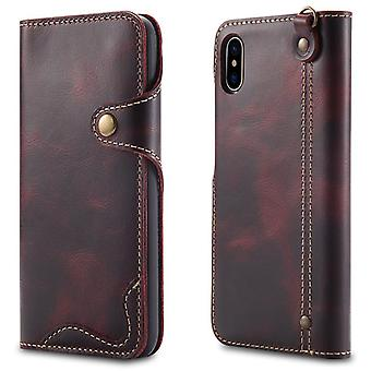 Genuine leather wallet case card slot for iphonexr 6.1 winered no3946