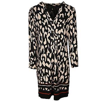 K-design Black & White Longs Sleeve Button Front Shirt Dress