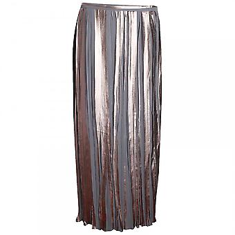Paola Collection Gold Metallic Crystal Pleated Long Skirt