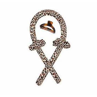 Sleep Heatless Curling Rod Headband(Leopard)