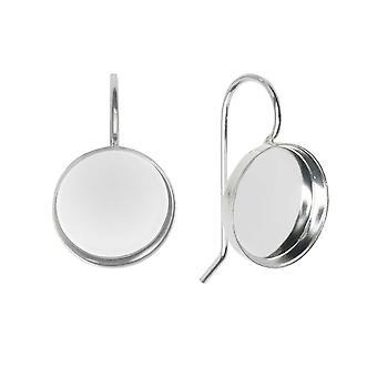 Øreringstråd, sirkelramme 12mm, lyst sølv, 1 par, av Nunn Design