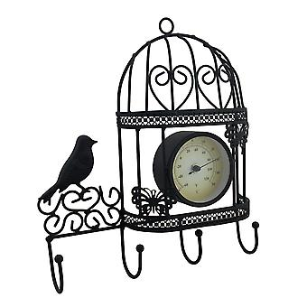 Metal Birdcage Wall Thermometer and Decorative Wall Hook