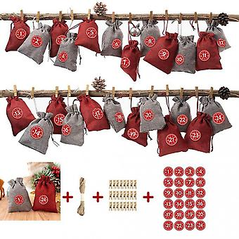 Christmas Advent Calendar Bag Set Hanging Candy Gift Pouches Countdown Xmas Decorations
