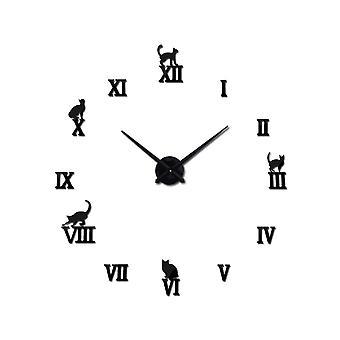 Ceiling light fixtures creative clocks oversize 3d clock living room bedroom diy mirror wall sticker wall clock-black