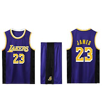 Los Angeles Lakers Lebron James Nr.23 Baschet Jersey # 23 / violet Away (dimensiunea copilului)