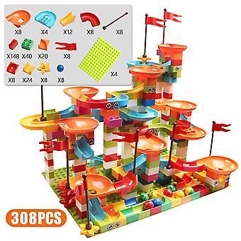 77-308pcs Marmor Race Run Big Block Kompatible Stadt Bausteine Trichter Slide Blocks Diy Big Bricks Spielzeug für Kinder Geschenk