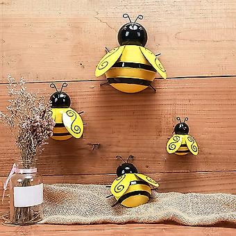 Metall Wasp Wanddekor, Rost Bienen Garten Dekor, Metall Figur WandDekor Garten Wand hängende Dekor Schlafzimmer Dekor 4pcs