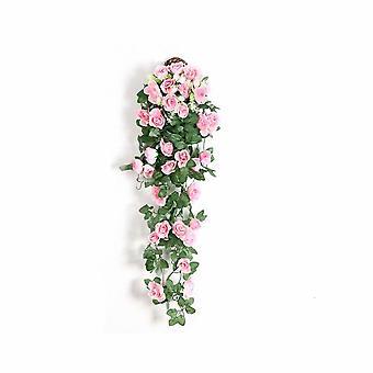 Vite di rosa artificiale, tubo di riscaldamento a parete di vite a fiore falso, soffitto di decorazione del soggiorno interno, pianta di vite da fiore in plastica (rose rosa a 2 pareti)