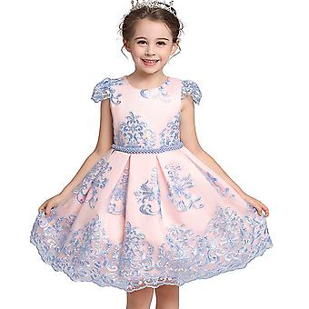 Rose Flower Embroidered Tutu Dress For Girls