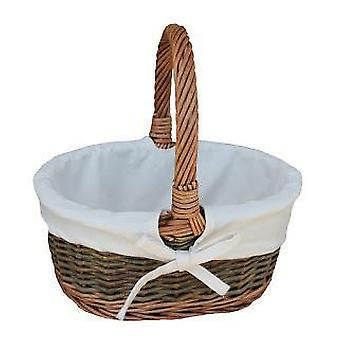 Blanco forrado país Oval mimbre cesta de compras