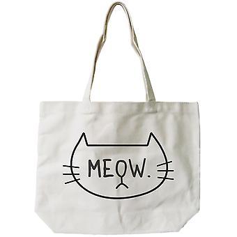Kvinders Genanvendelig lærred taske-Cute Meow kat ansigt naturlige lærred Tote pose