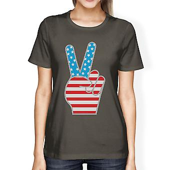 Peace Sign American Flag Unique Design Graphic T-Shirt For Women