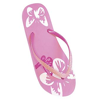 FLOSO Ladies/Womens Butterfly Flip Flops With Glitter Straps