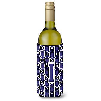 Letter I Football Purple and White Wine Bottle Beverage Insulator Hugger