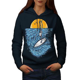 Surfista mujer esqueleto NavyHoodie | Wellcoda