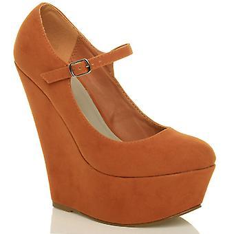 Ajvani Womens hohe Keil Ferse Mary Jane Gurt Plattform Gericht Schuhe pumps