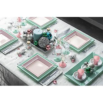 Party tableware set for 8 guests 82-teilig party package Green Pink Party package