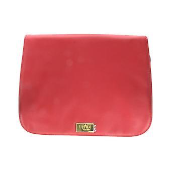 "Fan Di Fendi L'Acquarossa rojo negro cuero Faux Trousse bolsa (9 ""X 7"" X 1 "")"