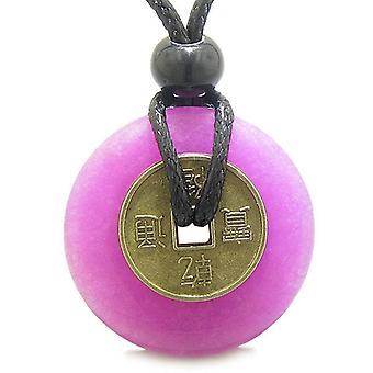 アンティーク コイン邪眼保護力お守りホット ピンク新しい玉 30 mm ドーナツ ペンダント ネックレス