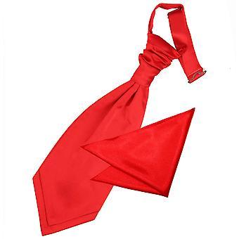 Red Plain satijn bruiloft Cravat & zak plein voor jongens instellen
