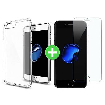 Stuff Certified ® iPhone 7 Plus Transparent TPU Case + Screen Protector Tempered Glass