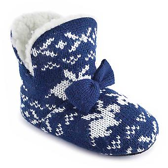 SlumberzzZ Girls Rabbit Knitted Ankle Boot Slippers