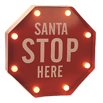 Festive Productions Metal LED Lit Santa Stop Here Indoor Battery Powered Christmas Sign