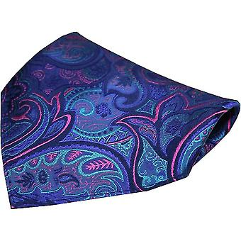 Posh and Dandy Edwardian Paisley Silk Pocket Square - Purple/Blue