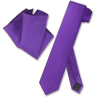 Vesuvio Napoli Skinny Necktie Striped Vertical Stripes Mens Neck Tie & Handkerchief