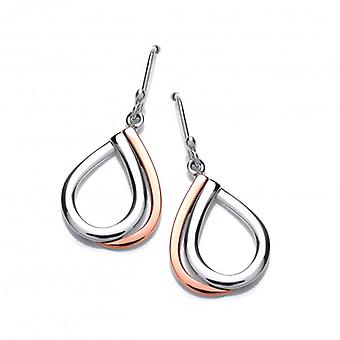 Cavendish French Silver and Copper Double Teardrop Earrings
