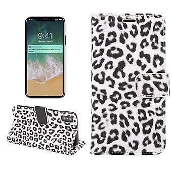 iPhone X Wallet Case Leopard-White