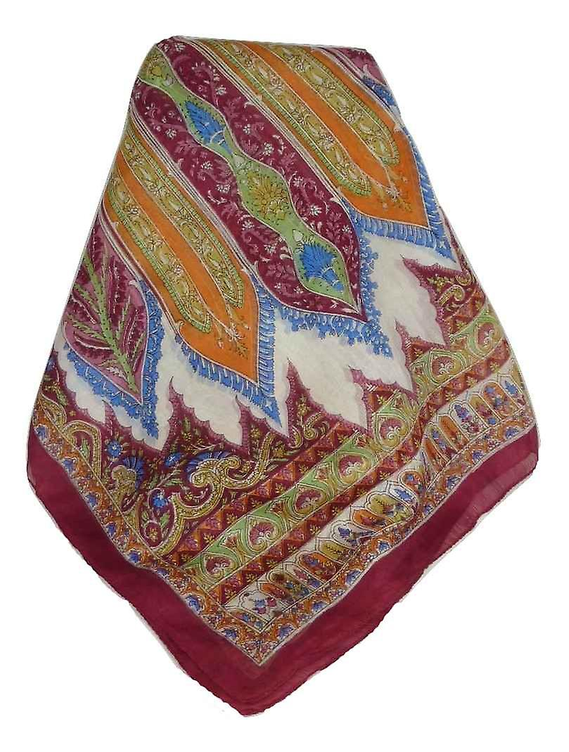 Mulberry Silk Traditional Long Scarf Johal Wine by Pashmina & Silk