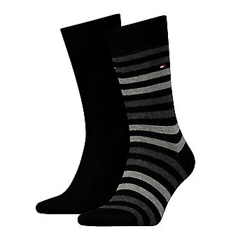 Tommy Hilfiger 2 Pack Duo Stripe calcetines - negro
