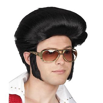 Mens Black Elvis Rock & Roll Wig Fancy Dress Accessory