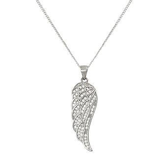 Eternal Collection Angelica Cubic Zirconia Sterling Silver Angel Wing Pendant