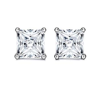 925 Sterling Silver Princess Cut Square Stud Earrings