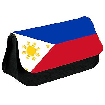 Philippines Flag Printed Design Pencil Case for Stationary/Cosmetic - 0139 (Black) by i-Tronixs