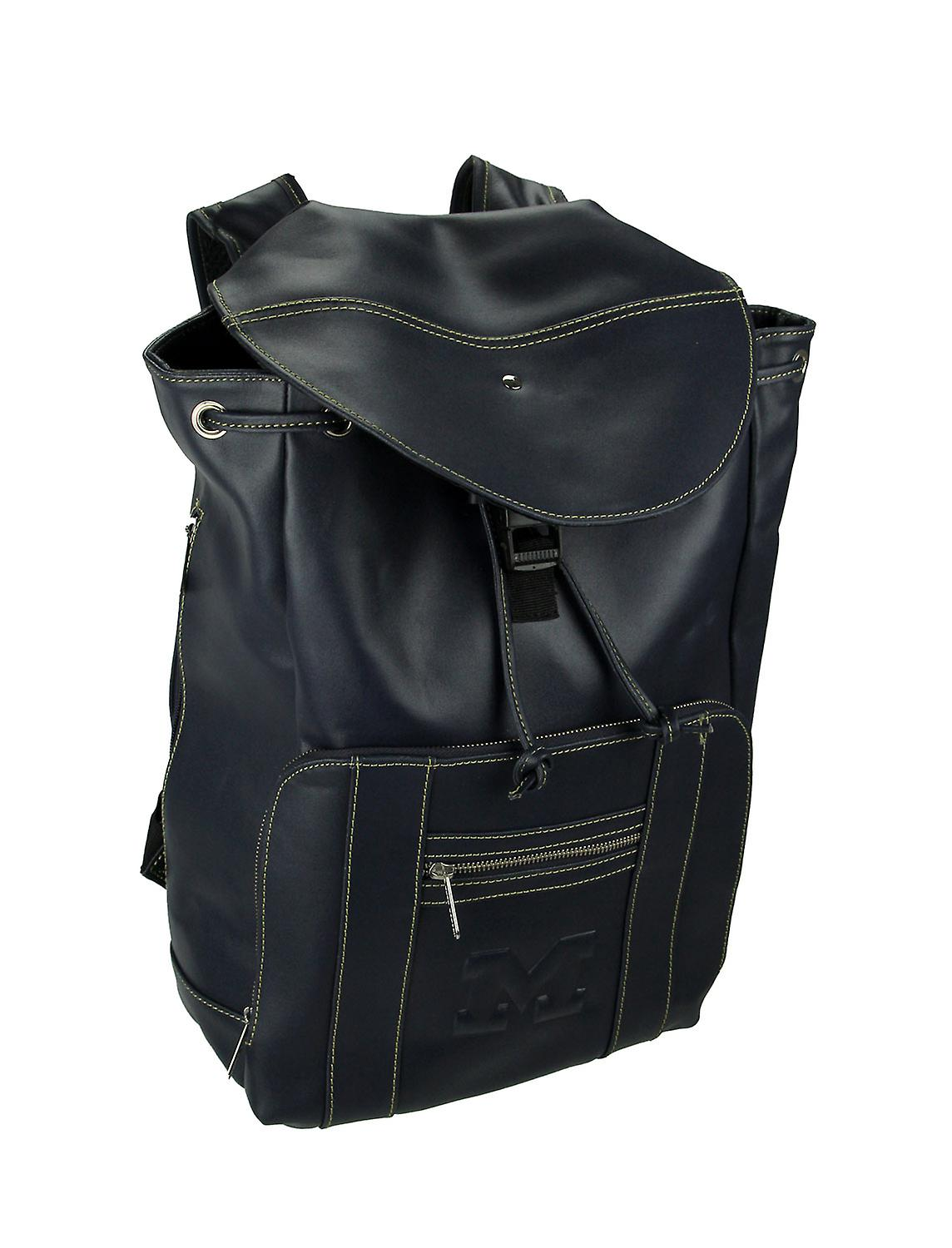 Michigan Wolverines Blue Embossed Leather Backpack