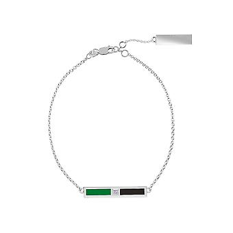 Universiteit van Noord-Texas Sterling Silver Diamond Bar Ketting Armband in groen en zwart