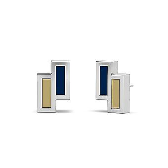 US Naval Academy Sterling Silver Asymmetric Enamel Stud Earrings In Blue and Tan