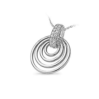 PENDANT WITH CHAIN INNER CIRCLE 925 SILVER ZIRCONIUM