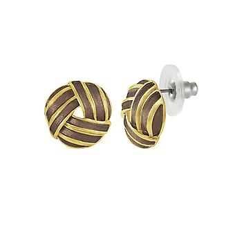 Eternal Collection Prestige Brown Enamel Gold Tone Stud Pierced Earrings