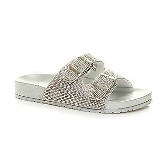 Ajvani naisten läppä floppi tasainenmuodossa lipsahdus Diamante solki liuku säätimiä sandaalit
