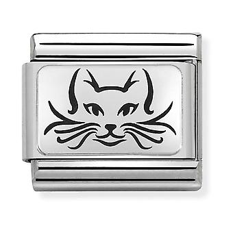 Nomination Classic Cat Steel, Enamel and 925 Silver Link Charm 330109/05