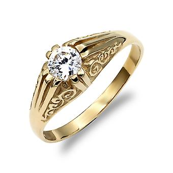 Jewelco London mäns solid 9ct gult guld vit rund lysande Cubic zirconia Solitaire snidade Gypsy ring