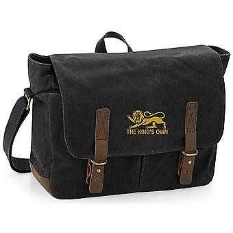 Kings Own Royal Regiment - Licensed British Army Embroidered Waxed Canvas Messenger Bag