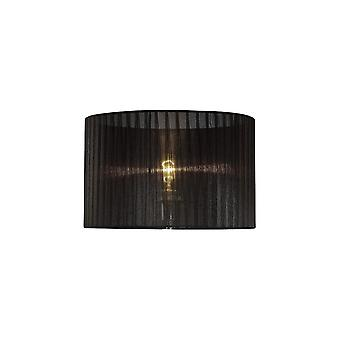 Diyas Florence Round Organza Shade Black 360mm X 230mm, Suitable For Table Lamp