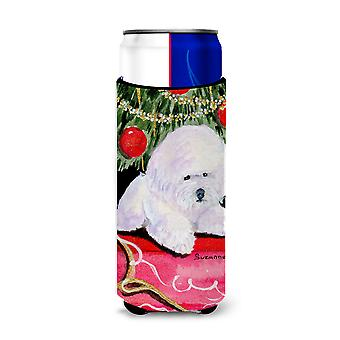Christmas Tree with  Bichon Frise Ultra Beverage Insulators for slim cans SS8957